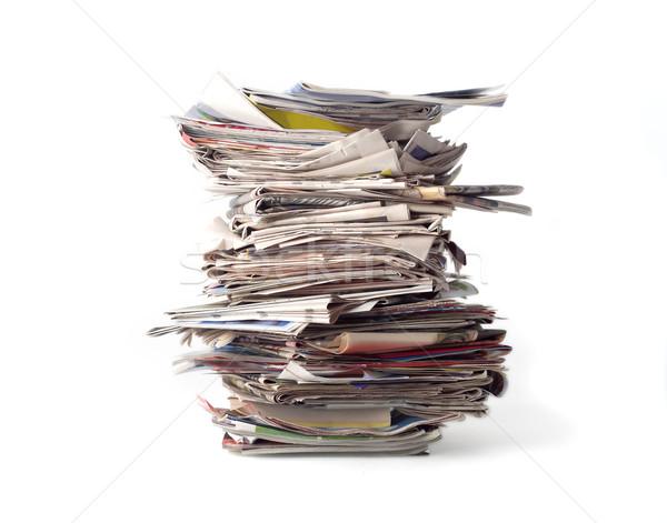 Gazeteler yalıtılmış beyaz kâğıt gazete Stok fotoğraf © gemenacom