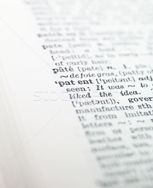 the word 'patent' highlighted in a dictionary Stock photo © gemenacom