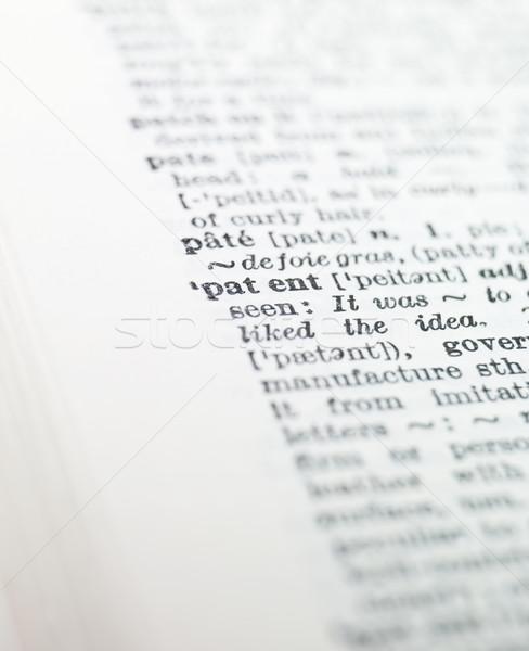 Kelime patent sözlük kâğıt kitap baskı Stok fotoğraf © gemenacom
