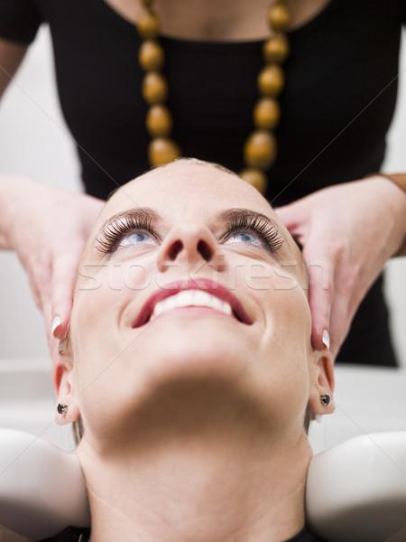 Kapsalon situatie vrouw wassen schoonheid dienst Stockfoto © gemenacom