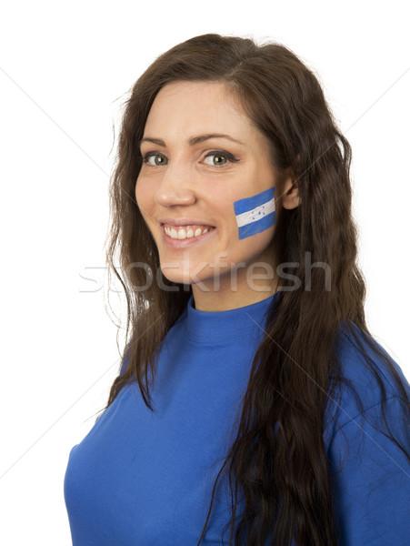 Dziewczyna młoda dziewczyna banderą malowany twarz kobieta Zdjęcia stock © gemenacom