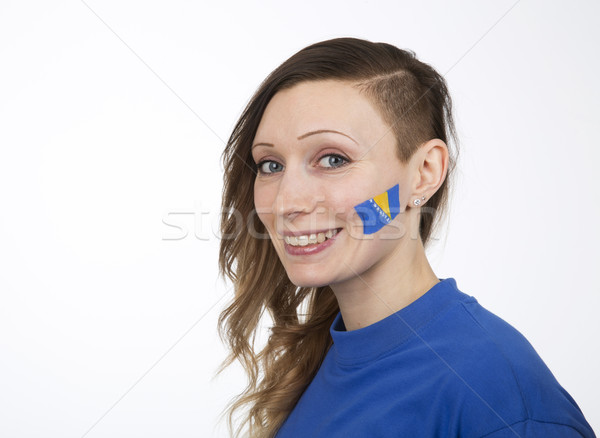 Nina sonriendo bandera mujer cara fútbol Foto stock © gemenacom