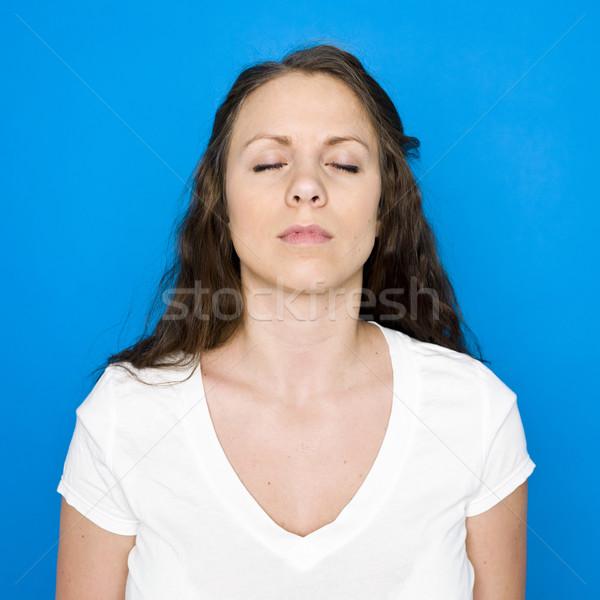 Jong meisje portret Blauw vrouw gelukkig vrouwelijke Stockfoto © gemenacom
