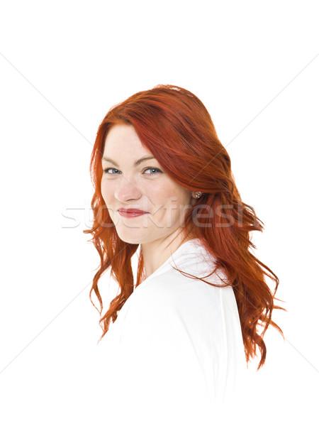 Rood vrouw geïsoleerd witte gelukkig Stockfoto © gemenacom