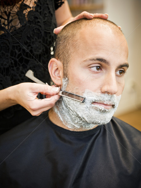 Shaving at the hair salon Stock photo © gemenacom