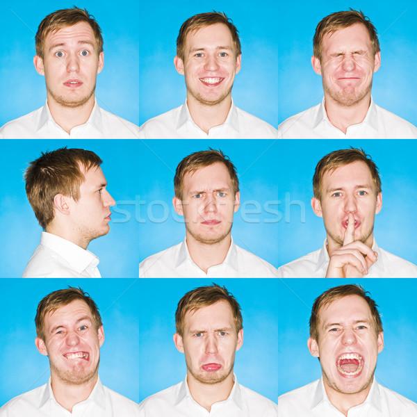 Dziewięć portrety inny młody człowiek niebieski Zdjęcia stock © gemenacom