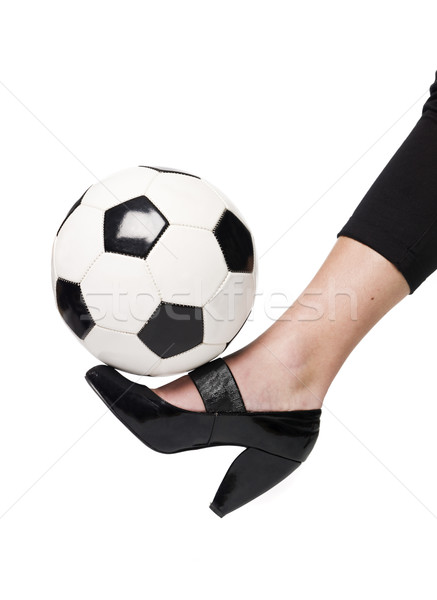 Fotball and a lady`s slipper Stock photo © gemenacom