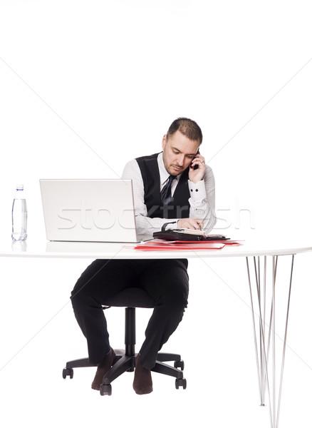 Homme derrière bureau jour ordinateur Photo stock © gemenacom