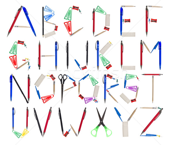 The Alphabet formed by office supplies Stock photo © gemenacom