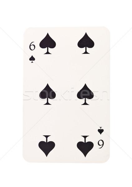 Zes spades geïsoleerd witte zwarte succes Stockfoto © gemenacom