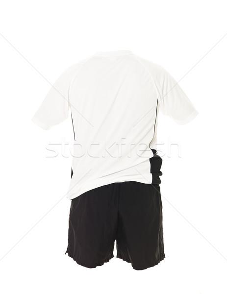 Biały piłka nożna shirt czarny szorty odizolowany Zdjęcia stock © gemenacom