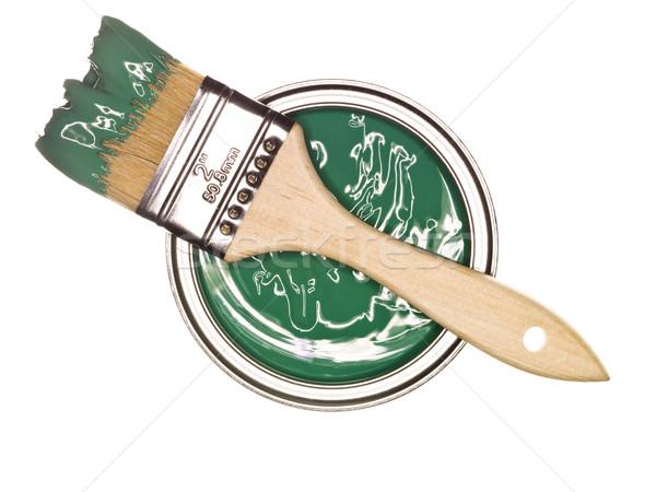 Zöld festékes flakon ecset fölött izolált fehér Stock fotó © gemenacom