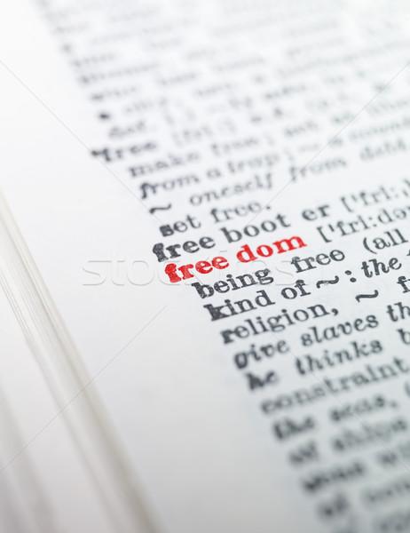 Kelime özgürlük sözlük kâğıt kitap kırmızı Stok fotoğraf © gemenacom