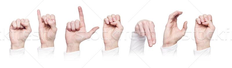 Palavra silêncio linguagem gestual isolado branco multidão Foto stock © gemenacom