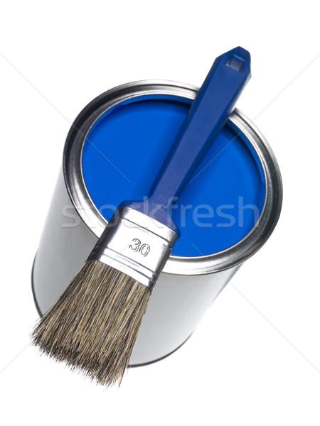 Blue Paint can and brush Stock photo © gemenacom