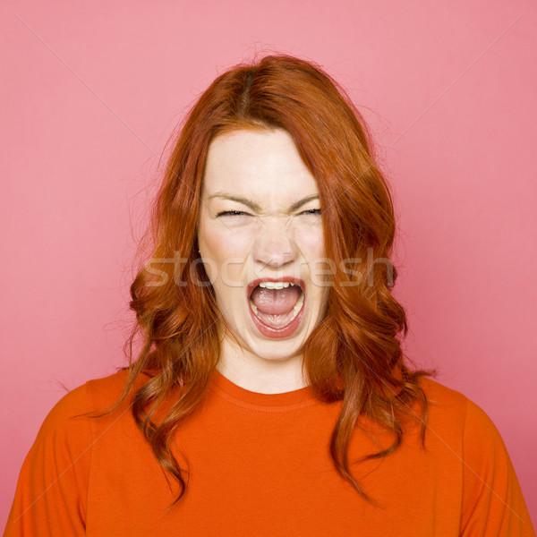 Vrouw roze portret Rood vrouwelijke Stockfoto © gemenacom