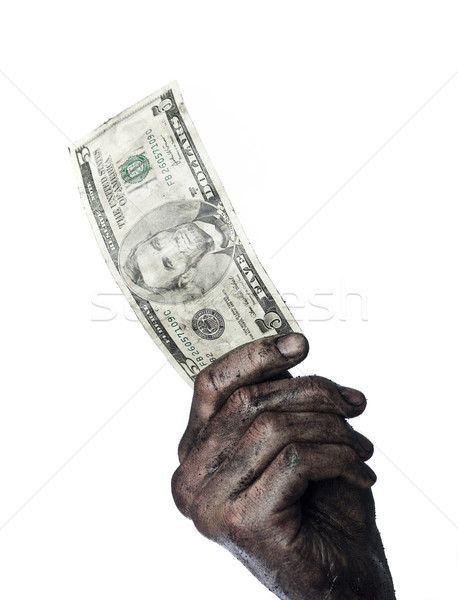 Dirty hand holding a five dollar bank-note Stock photo © gemenacom