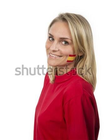 Spaans meisje jong meisje spaanse vlag geschilderd wang Stockfoto © gemenacom