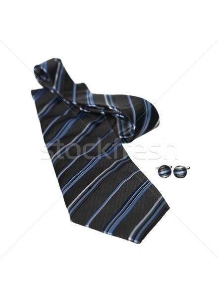 Fekete kék nyakkendő stúdió ruha láncszem Stock fotó © gemenacom