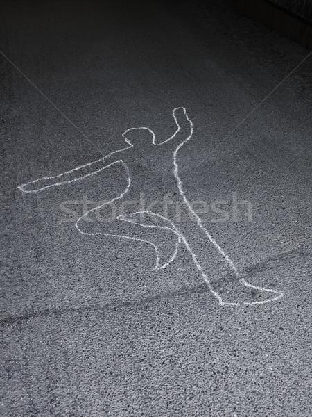 Contour of a person drawn at the asphalt Stock photo © gemenacom