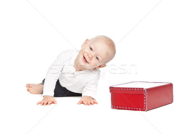 Fiú piros ételhordó doboz izolált fehér baba Stock fotó © gemenacom