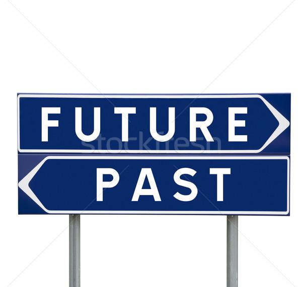 Jövő múlt jelzőtáblák izolált absztrakt felirat Stock fotó © gemenacom