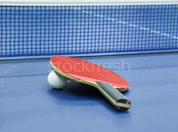 Tafeltennis stilleven selectieve aandacht sport Blauw donkere Stockfoto © gemenacom