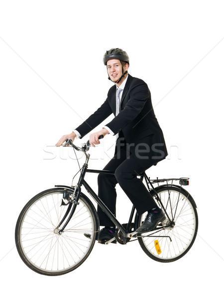 Stok fotoğraf: Adam · bisiklet · genç · yalıtılmış · beyaz · mutlu