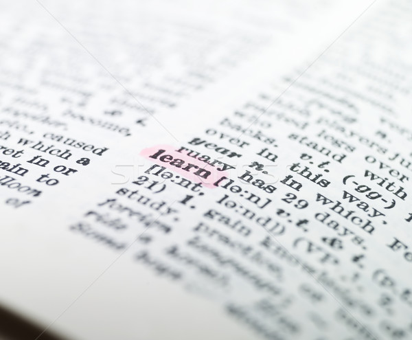 Mot apprendre dictionnaire papier livre imprimer Photo stock © gemenacom