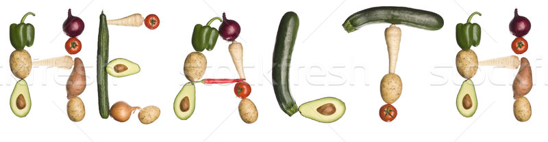 Stock fotó: Szó · egészség · ki · zöldségek · izolált · fehér