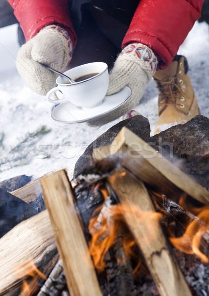 Coffee and winter gloves Stock photo © gemenacom