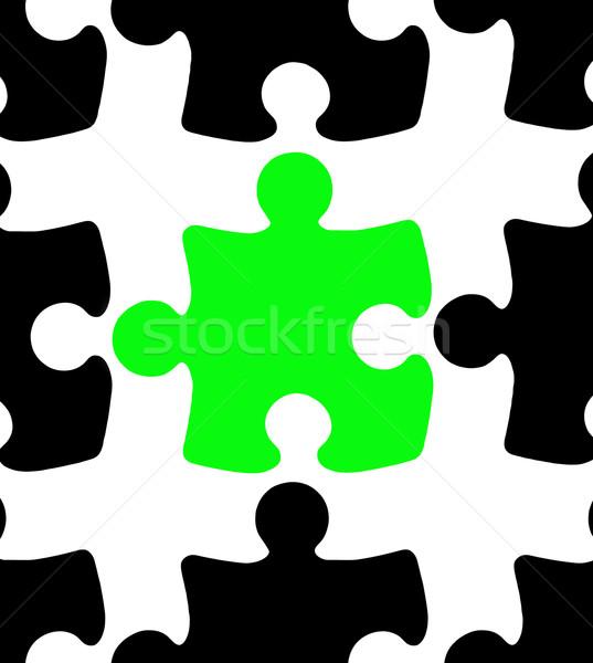 Zöld kirakós játék darab fekete darabok fehér Stock fotó © gemenacom
