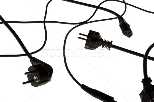 Stock fotó: Távvezeték · izolált · fehér · kábel · fekete · energia