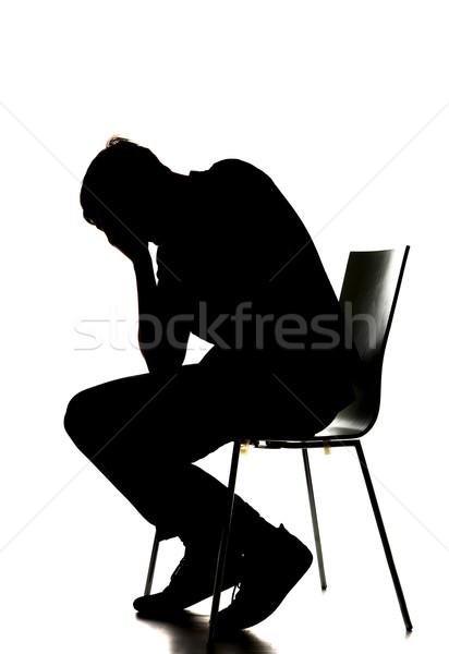 silhouette of a sad man Stock photo © gemenacom