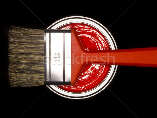 Red Paint can and brush Stock photo © gemenacom