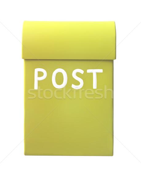Geel mailbox geïsoleerd witte kantoor vak Stockfoto © gemenacom