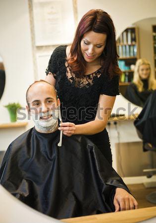 美容院 デザイン 男性 作業 ミラー ストックフォト © gemenacom