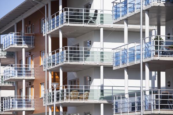 Edifício moderno arquitetura apartamento fotografia cimento varanda Foto stock © gemenacom