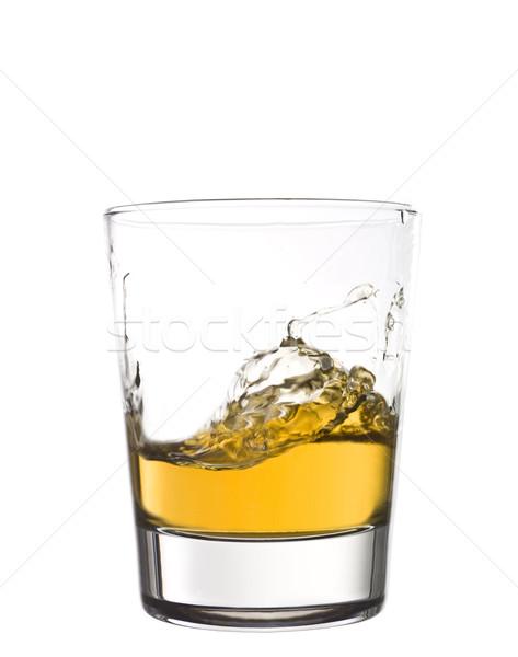 Whisky Splash vidrio naranja beber blanco Foto stock © gemenacom