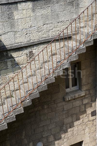 Elnyűtt lépcsősor idő kő építészet Európa Stock fotó © gemenacom