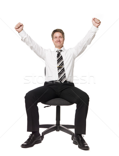 Heureux homme chaise de bureau succès blanche cravate Photo stock © gemenacom