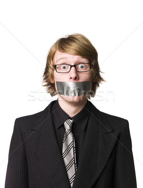 Man with tape over his mouth Stock photo © gemenacom