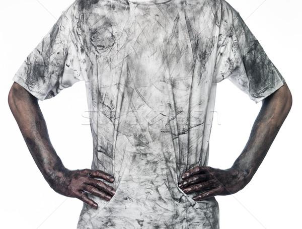 Férfi koszos póló fehér férfi fehér olaj Stock fotó © gemenacom