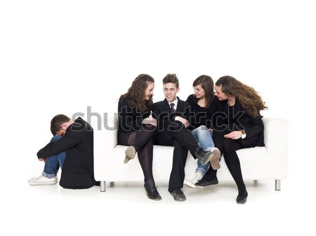 Cztery osoby sofa facet odizolowany biały nastolatek Zdjęcia stock © gemenacom