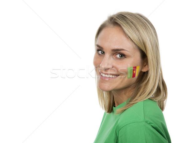 Camarões menina jovem bandeira pintado bochecha Foto stock © gemenacom
