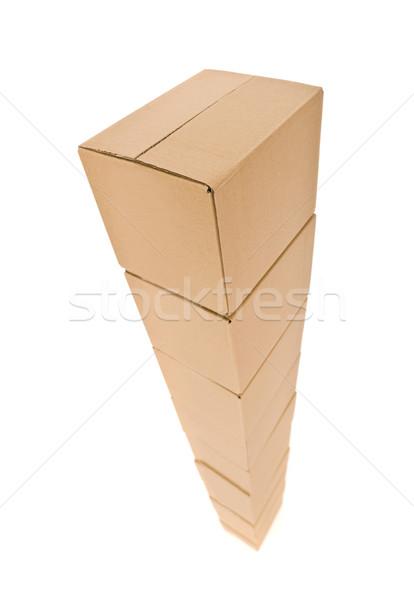 Stockfoto: Toren · karton · dozen · geïsoleerd · witte · pakket