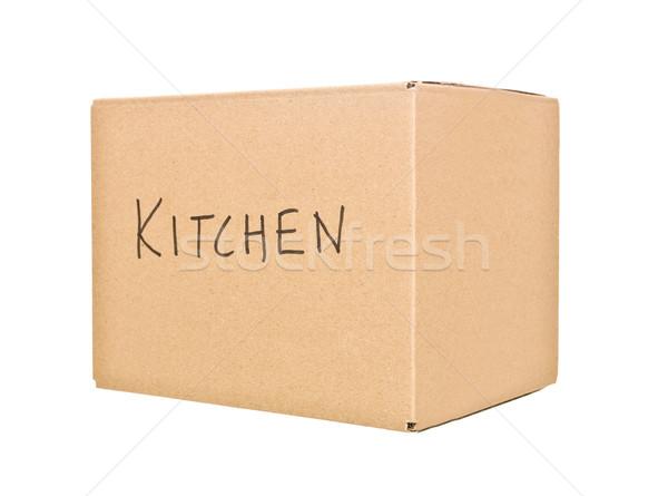 Cardboard Box marked Kitchen Stock photo © gemenacom