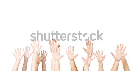 Grup eller hava yalıtılmış beyaz kadın Stok fotoğraf © gemenacom