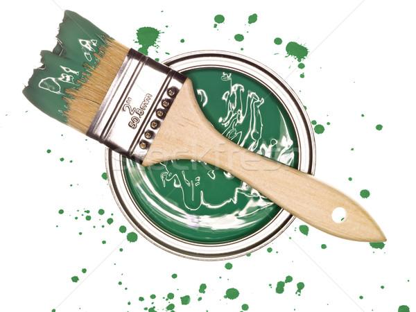 Zöld festékes flakon ecset fölött izolált ecset Stock fotó © gemenacom