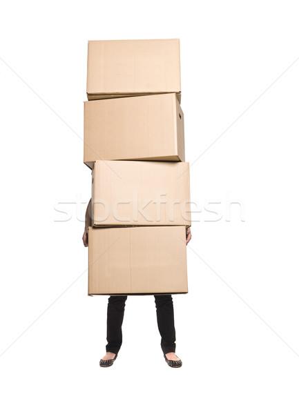 Nő négy dobozok doboz dolgozik ajándék Stock fotó © gemenacom